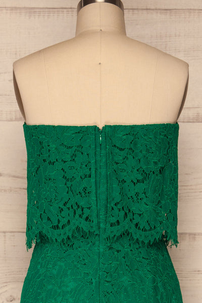 Eleftherio Émeraude Green Lace Bustier Jumpsuit | La Petite Garçonne back close-up