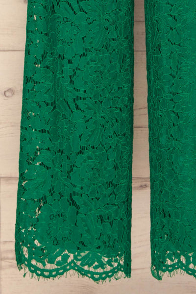 Eleftherio Émeraude Green Lace Bustier Jumpsuit | La Petite Garçonne bottom close-up