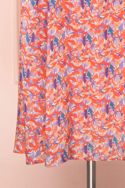 Elinros Coral Short Sleeved Midi Dress | Boutique 1861 bottom close-up