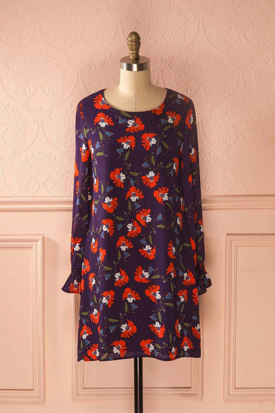 Elirose - Purple floral print shift dress
