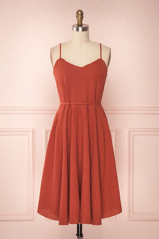 Ellem Burnt Orange Flared Summer Linen Dress | Boutique 1861