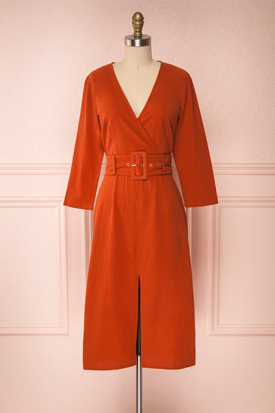 Ellesmere Orange Long Sleeved Midi Dress front view | Boutique 1861
