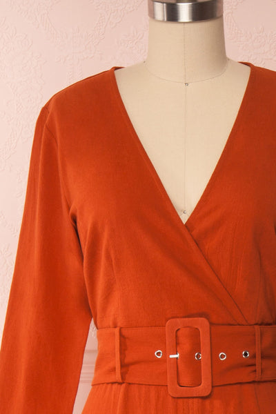 Ellesmere Orange Long Sleeved Midi Dress front close up | Boutique 1861