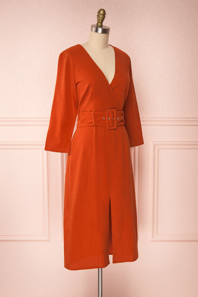 Ellesmere Orange Long Sleeved Midi Dress side view | Boutique 1861