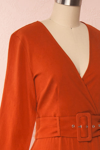 Ellesmere Orange Long Sleeved Midi Dress side close up | Boutique 1861