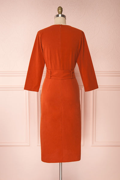 Ellesmere Orange Long Sleeved Midi Dress back view | Boutique 1861