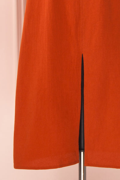 Ellesmere Orange Long Sleeved Midi Dress skirt | Boutique 1861
