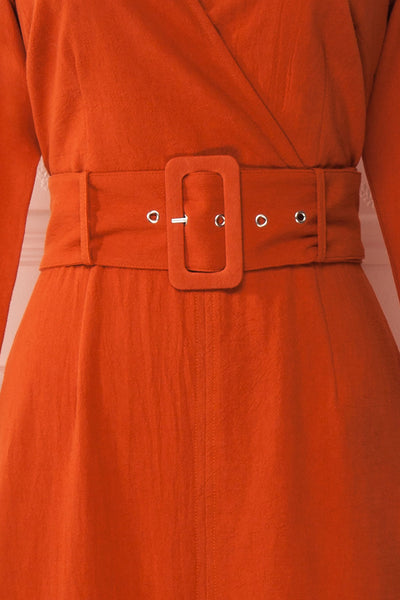 Ellesmere Orange Long Sleeved Midi Dress fabric | Boutique 1861