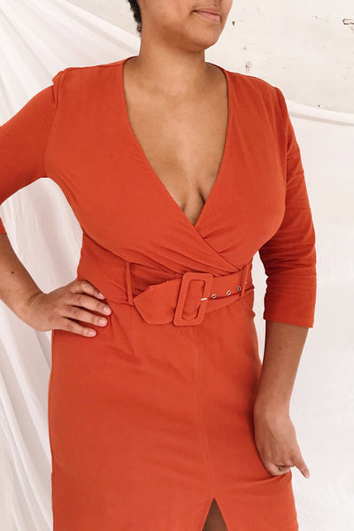 Ellesmere Orange Long Sleeve Midi Dress | Boutique 1861 on model