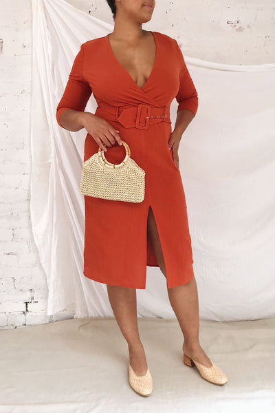 Ellesmere Orange Long Sleeve Midi Dress | Boutique 1861 model look
