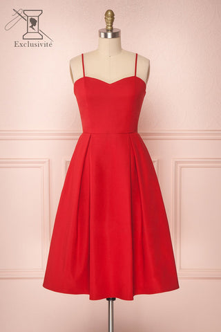Ellyne Red A-Line Cocktail Dress | Boutique 1861
