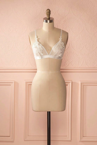 Elotine - White mesh bralette with lace appliqué