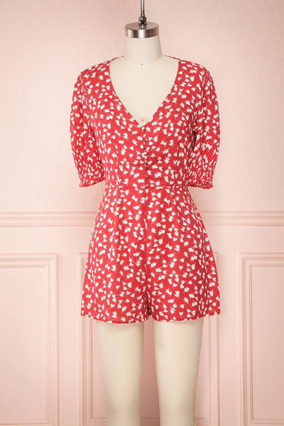 Elsie Red Floral Short Sleeved Romper front view | Boutique 1861
