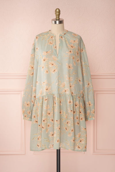 Eluska Pastel Green Floral Short Dress | Boutique 1861 front view