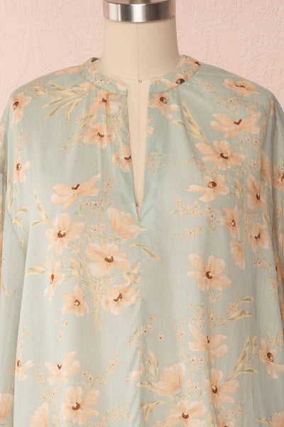 Eluska Pastel Green Floral Short Dress | Boutique 1861 front close up