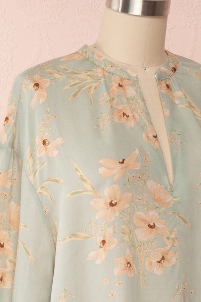 Eluska Pastel Green Floral Short Dress | Boutique 1861 side close up