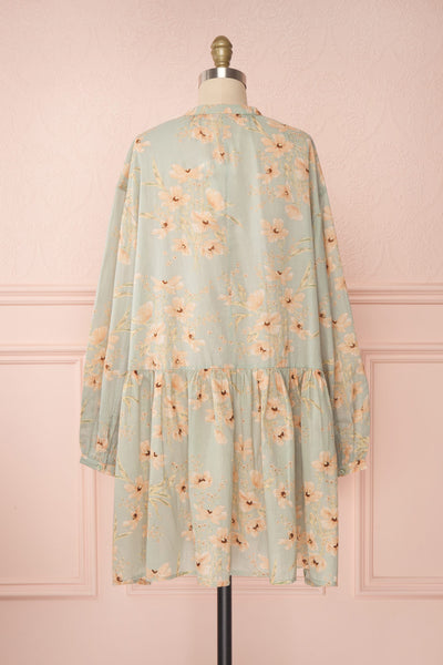 Eluska Pastel Green Floral Short Dress | Boutique 1861 back view