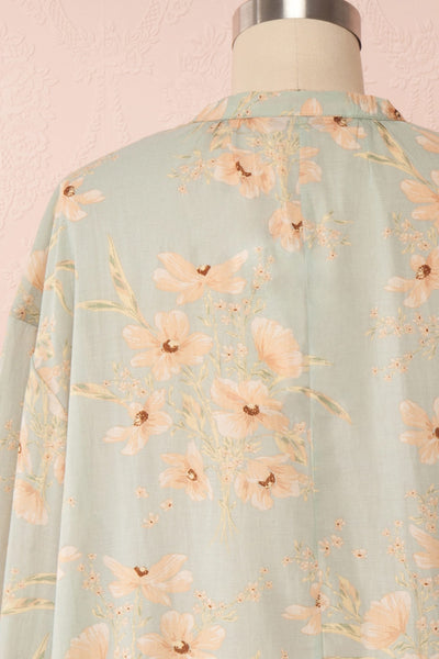 Eluska Pastel Green Floral Short Dress | Boutique 1861 back close up