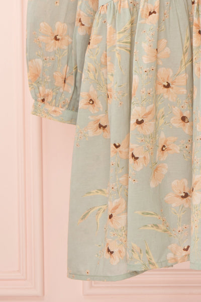 Eluska Pastel Green Floral Short Dress | Boutique 1861 sleeve front