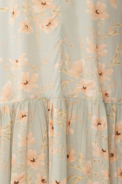 Eluska Pastel Green Floral Short Dress | Boutique 1861 fabric