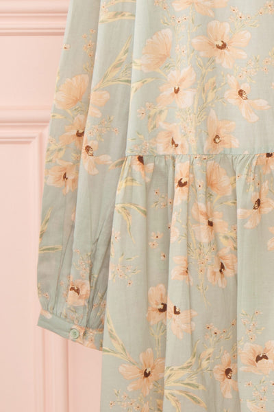 Eluska Pastel Green Floral Short Dress | Boutique 1861 sleeve back