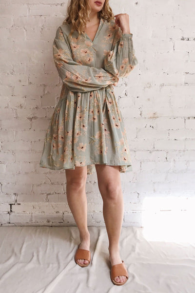 Eluska Pastel Green Floral Short Dress | Boutique 1861 model look