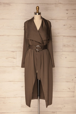 Elverum Dark Khaki Long Trench Coat | La Petite Garçonne Chpt. 2