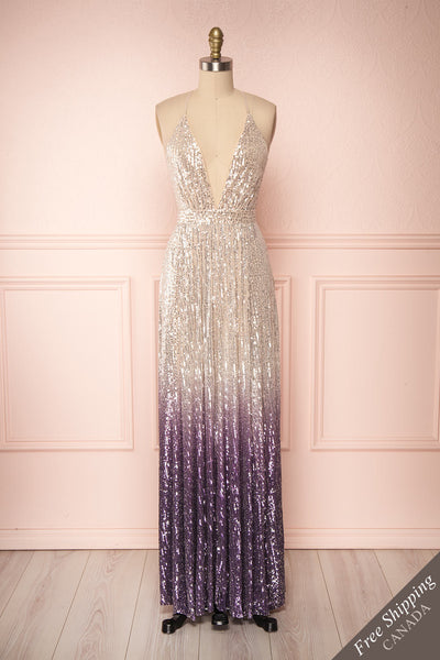 Emerentine Ombre Sequin Gown | Robe longue front view FS | Boutique 1861