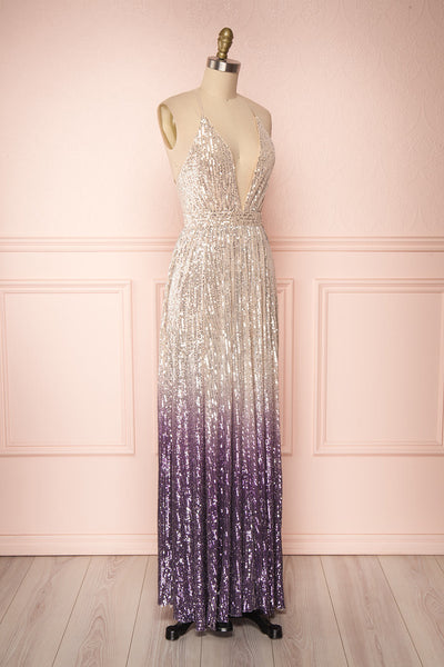 Emerentine Ombre Sequin Gown | Robe longue side view | Boutique 1861