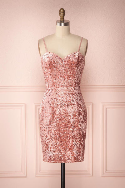 Emilyn Pink Velvet Sequined Fitted Dress | Boutique 1861