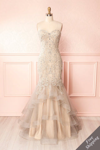 Emorine Beige & Silver Crystal Embroidered Bridal Gown | Boudoir 1861