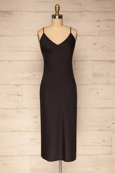 Enea Black Satin Midi Slip Cocktail Dress front view | La Petite Garçonne