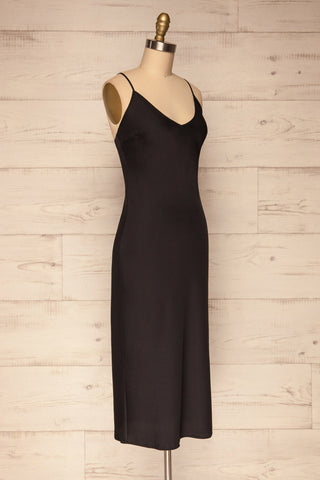 Enea Black Satin Midi Slip Cocktail Dress side view | La Petite Garçonne