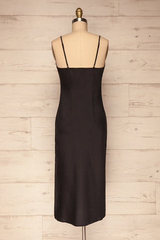 Enea Black Satin Midi Slip Cocktail Dress back view | La Petite Garçonne