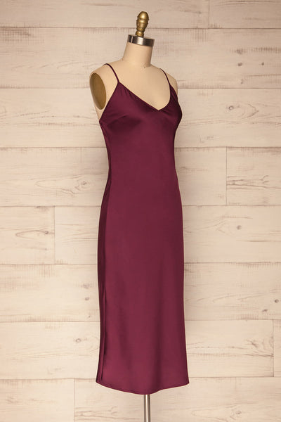 Enea Burgundy Satin Midi Slip Cocktail Dress | La Petite Garçonne side view