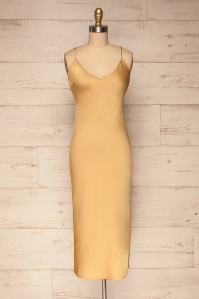 Enea Champagne Yellow Satin Midi Slip Dress | La Petite Garçonne front view