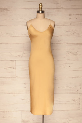 Enea Champagne Yellow Satin Midi Slip Dress front view | La Petite Garçonne