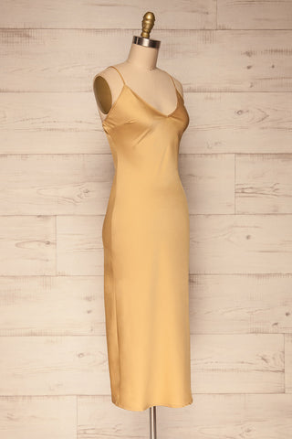 Enea Champagne Yellow Satin Midi Slip Dress side view | La Petite Garçonne