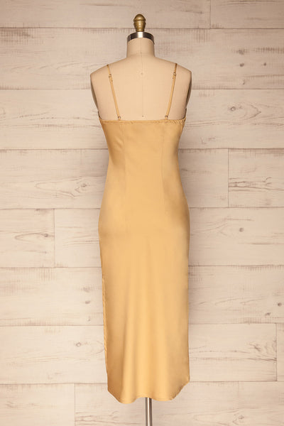 Enea Champagne Yellow Satin Midi Slip Dress | La Petite Garçonne back view