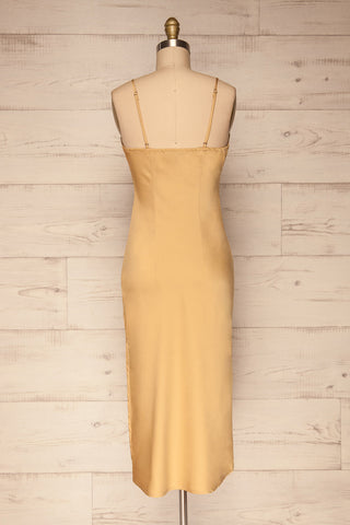 Enea Champagne Yellow Satin Midi Slip Dress back view | La Petite Garçonne