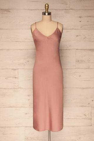 Enea Mauve Dusty Pink Satin Midi Slip Dress front view | La Petite Garçonne