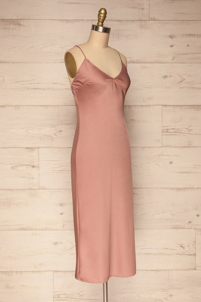 Enea Mauve Dusty Pink Satin Midi Slip Dress | La Petite Garçonne side view