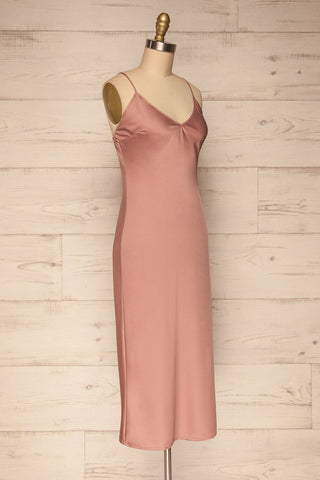 Enea Mauve Dusty Pink Satin Midi Slip Dress side view | La Petite Garçonne