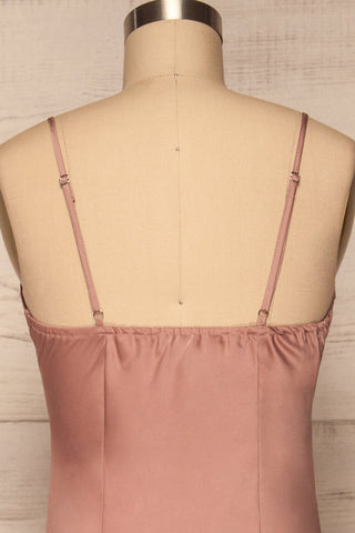 Enea Mauve Dusty Pink Satin Midi Slip Dress back close up | La Petite Garçonne