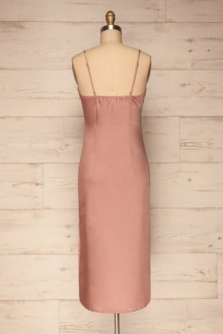 Enea Mauve Dusty Pink Satin Midi Slip Dress back view | La Petite Garçonne