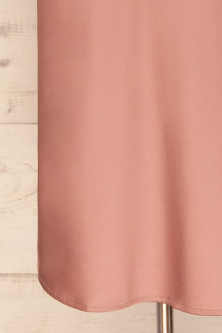 Enea Mauve Dusty Pink Satin Midi Slip Dress | La Petite Garçonne bottom close-up