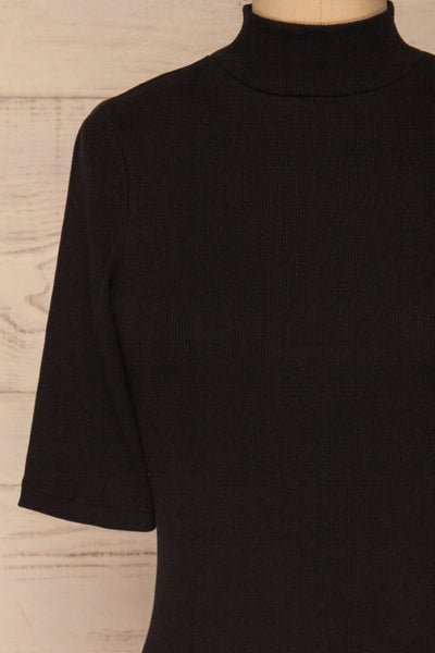 Ennis Black Ribbed Mock Neck Top | La petite garçonne front close-up