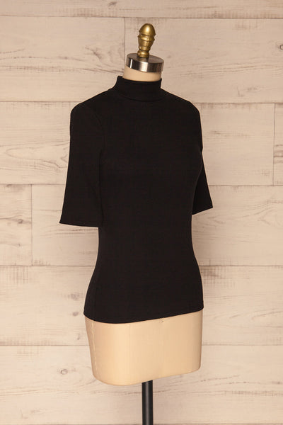 Ennis Black Ribbed Mock Neck Top | La petite garçonne  side view