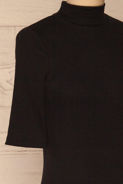 Ennis Black Ribbed Mock Neck Top | La petite garçonne  side close-up