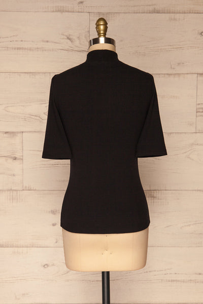 Ennis Black Ribbed Mock Neck Top | La petite garçonne back view